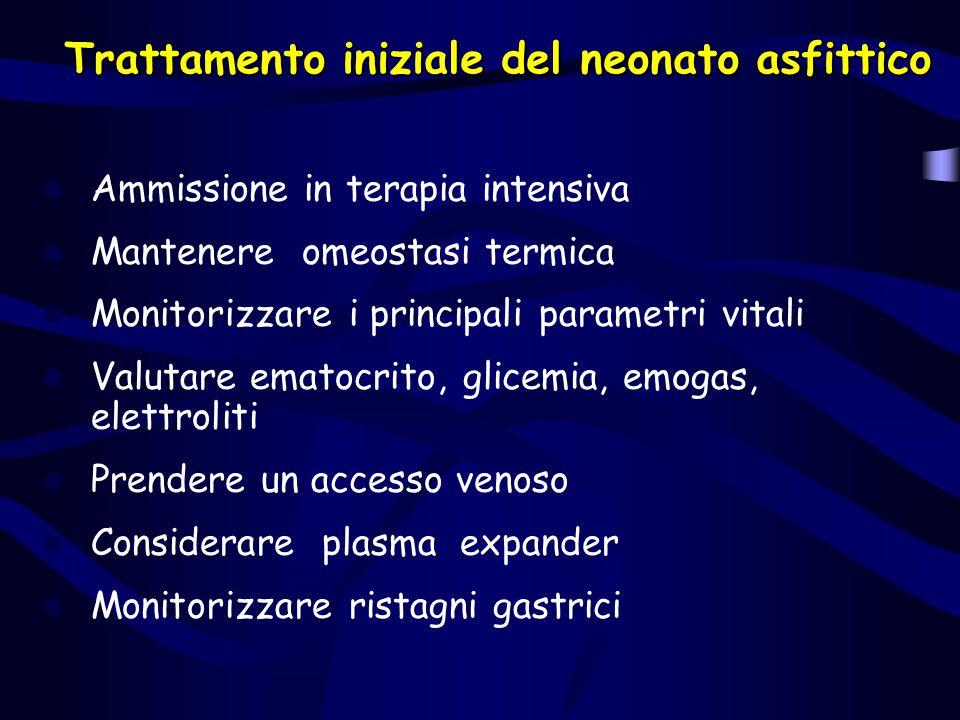 Trattamento iniziale del neonato asfittico Ammissione in terapia intensiva Mantenere omeostasi termica Monitorizzare i principali parametri vitali Val