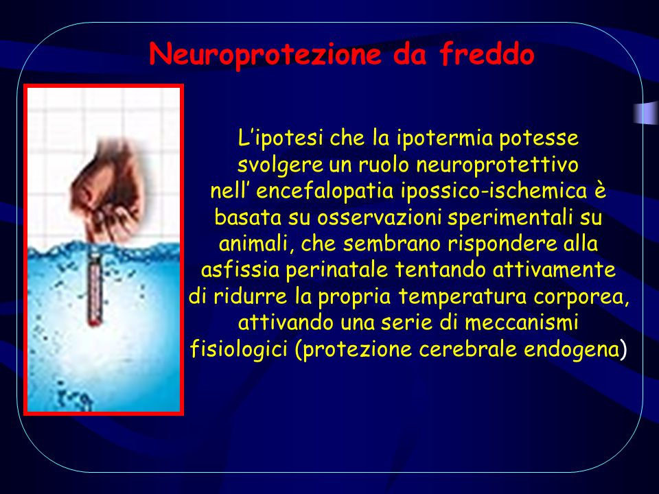 Neuroprotezione da freddo L'ipotesi che la ipotermia potesse svolgere un ruolo neuroprotettivo nell' encefalopatia ipossico-ischemica è basata su osse