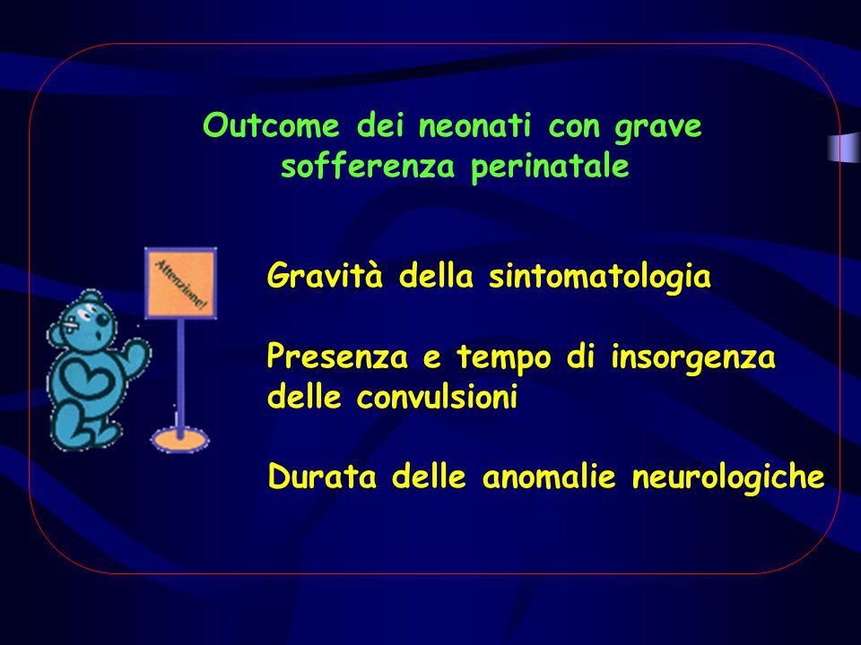 Outcome dei neonati con grave sofferenza perinatale Gravità della sintomatologia Presenza e tempo di insorgenza delle convulsioni Durata delle anomali