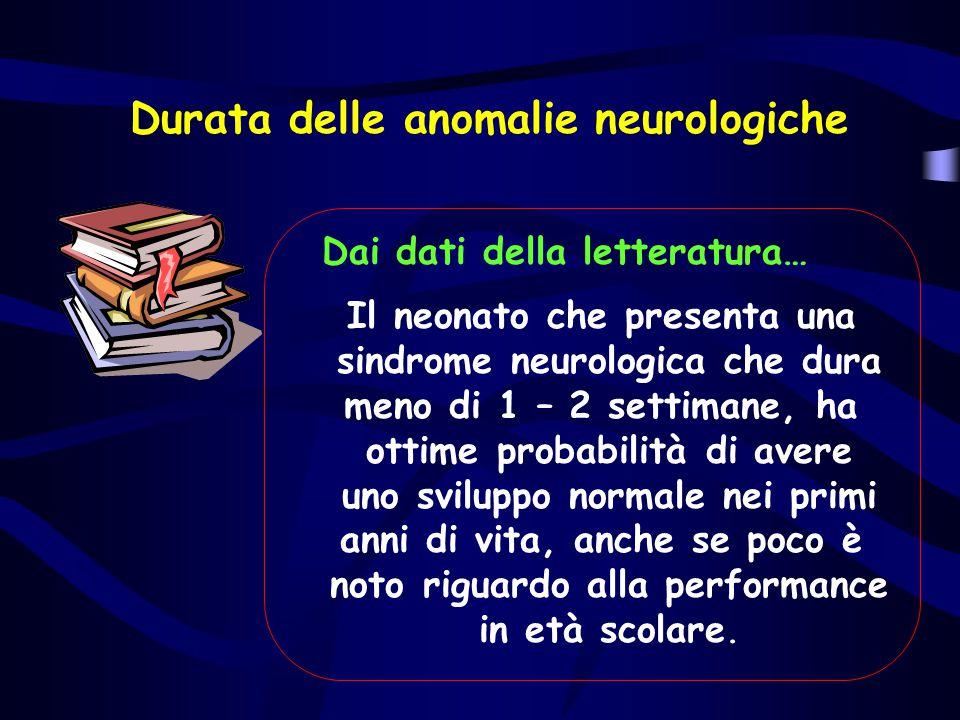 Durata delle anomalie neurologiche Dai dati della letteratura… Il neonato che presenta una sindrome neurologica che dura meno di 1 – 2 settimane, ha o