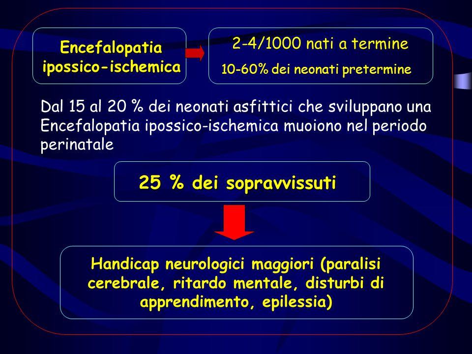 Encefalopatiaipossico-ischemica 25 % dei sopravvissuti 2-4/1000 nati a termine 10-60% dei neonati pretermine Dal 15 al 20 % dei neonati asfittici che