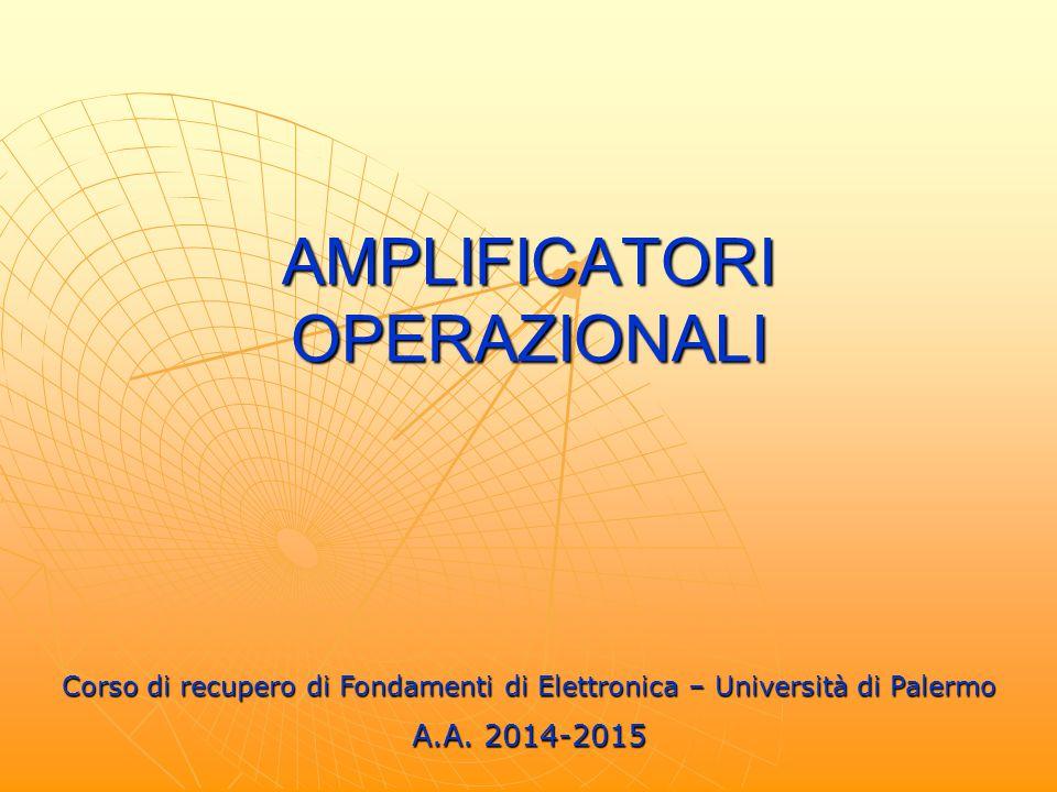 AMPLIFICATORI OPERAZIONALI Corso di recupero di Fondamenti di Elettronica – Università di Palermo A.A. 2014-2015
