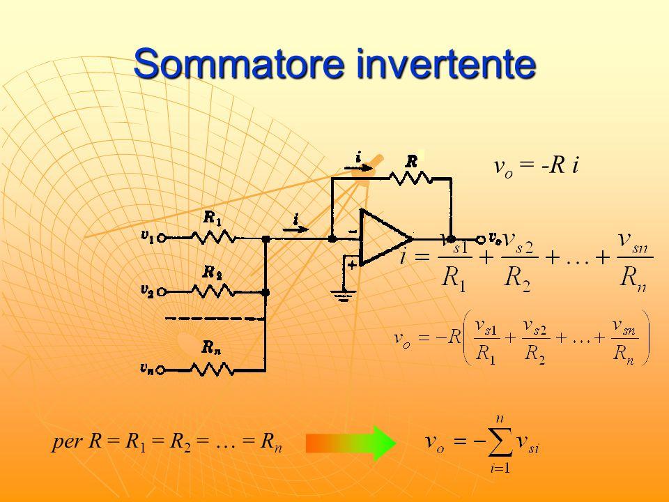 Sommatore invertente v o = -R i per R = R 1 = R 2 = … = R n