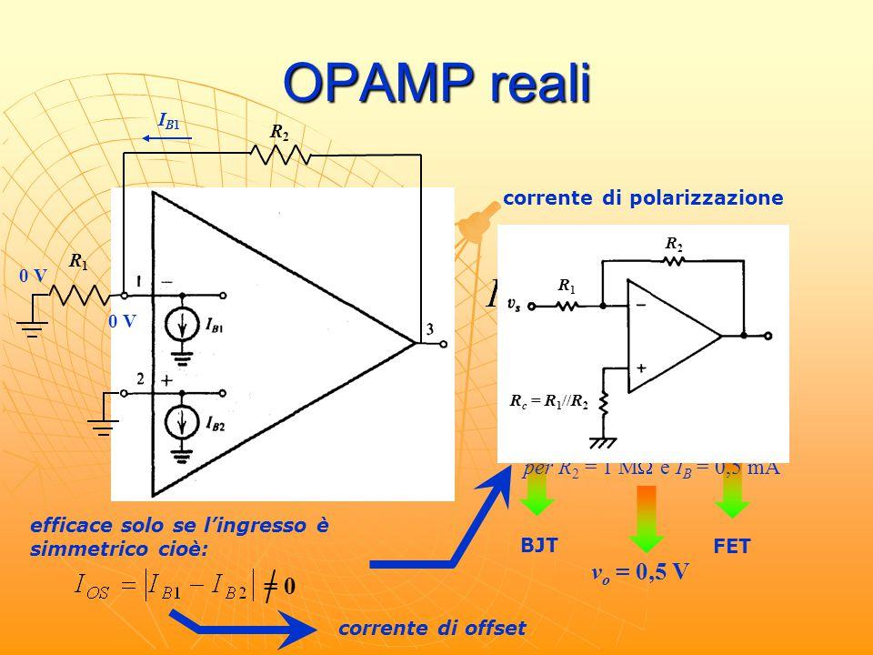 OPAMP reali 500 nA 50 pA BJT FET R1R1 R2R2 v o = R 2 I B1 ≈ R 2 I B 0 V IB1IB1 per R 2 = 1 M  e I B = 0,5 mA v o = 0,5 V R1R1 R c = R 1 //R 2 R2R2 co