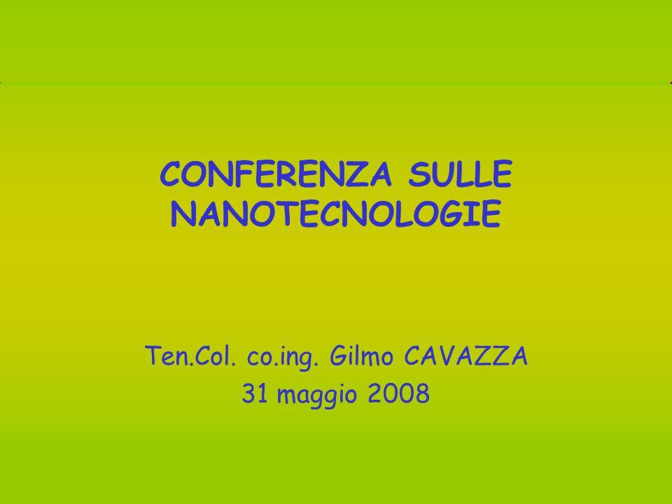 Conferenza sulle NANOTECNOLOGIE – Sala Consiliare Comune di Monterosi (VT), 31 maggio 2008 1 CONFERENZA SULLE NANOTECNOLOGIE Ten.Col.