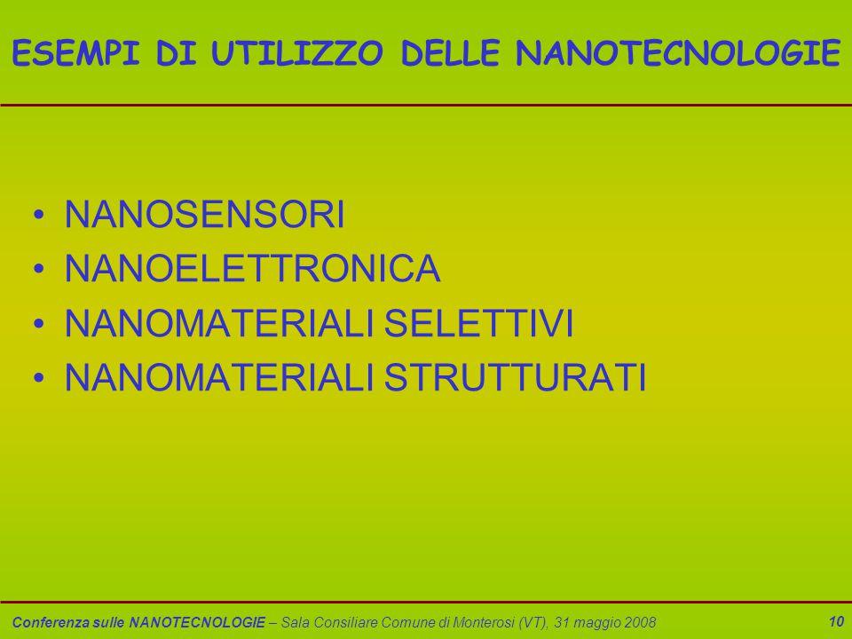 Conferenza sulle NANOTECNOLOGIE – Sala Consiliare Comune di Monterosi (VT), 31 maggio 2008 10 ESEMPI DI UTILIZZO DELLE NANOTECNOLOGIE NANOSENSORI NANOELETTRONICA NANOMATERIALI SELETTIVI NANOMATERIALI STRUTTURATI