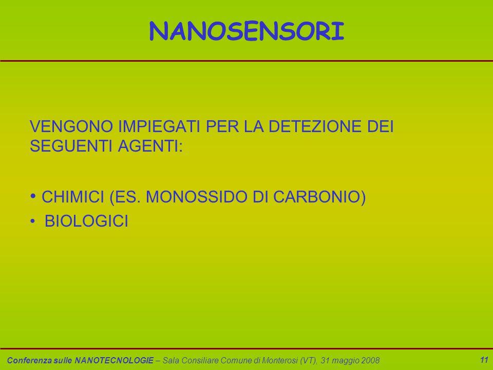 Conferenza sulle NANOTECNOLOGIE – Sala Consiliare Comune di Monterosi (VT), 31 maggio 2008 11 NANOSENSORI VENGONO IMPIEGATI PER LA DETEZIONE DEI SEGUENTI AGENTI: CHIMICI (ES.