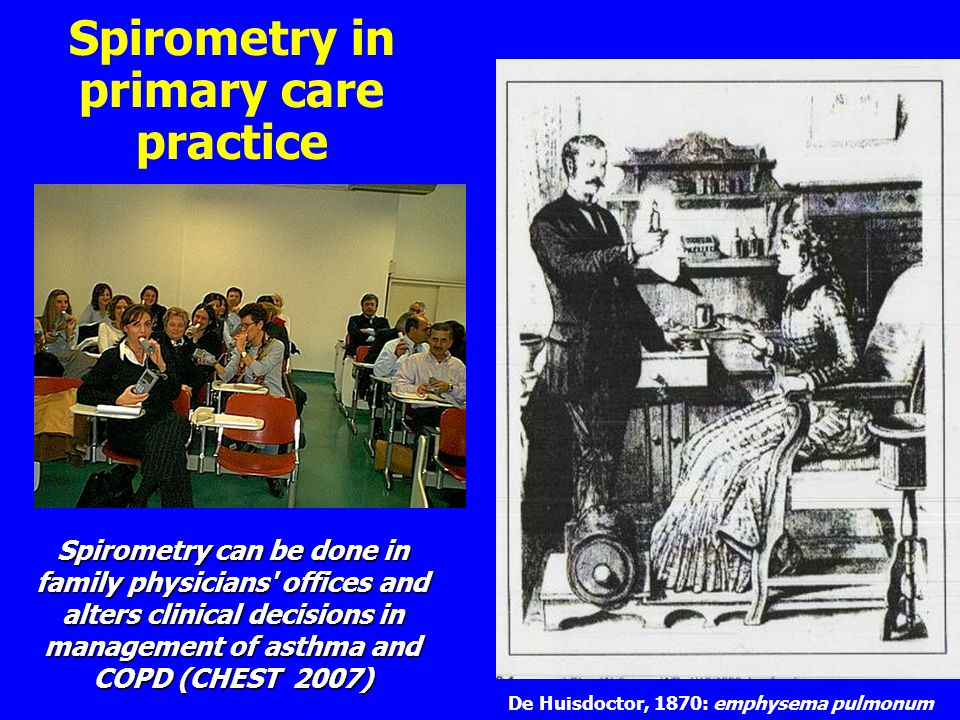 Spirometry in primary care practice De Huisdoctor, 1870: emphysema pulmonum Spirometry can be done in family physicians offices and alters clinical decisions in management of asthma and COPD (CHEST 2007)