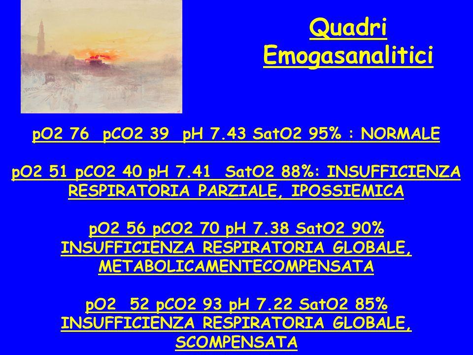 Quadri Emogasanalitici pO2 76 pCO2 39 pH 7.43 SatO2 95% : NORMALE pO2 51 pCO2 40 pH 7.41 SatO2 88%: INSUFFICIENZA RESPIRATORIA PARZIALE, IPOSSIEMICA p