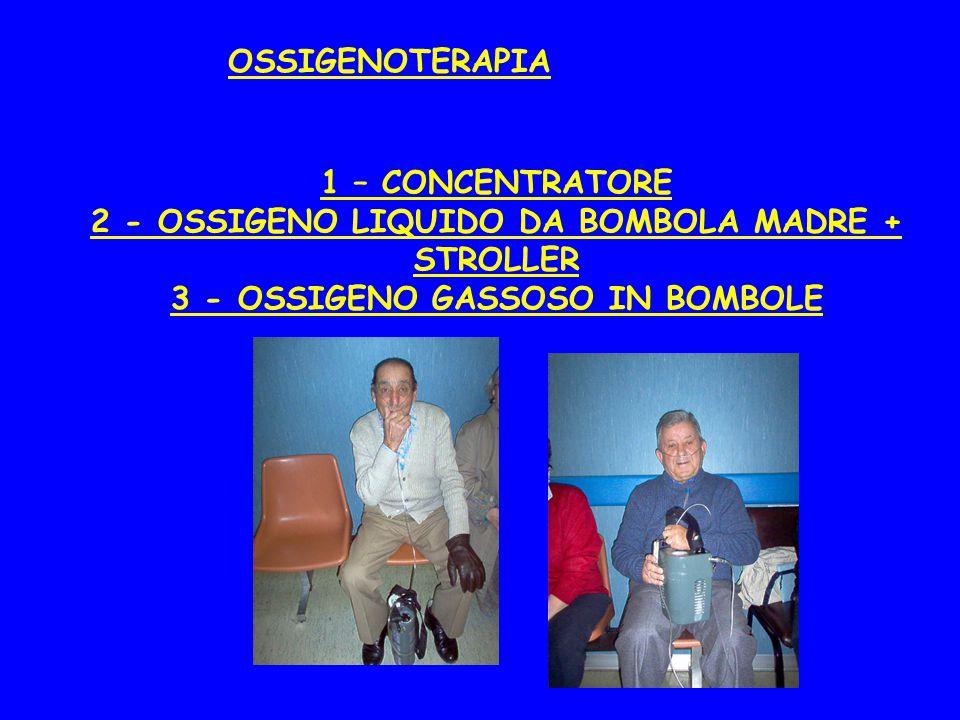 OSSIGENOTERAPIA 1 – CONCENTRATORE 2 - OSSIGENO LIQUIDO DA BOMBOLA MADRE + STROLLER 3 - OSSIGENO GASSOSO IN BOMBOLE