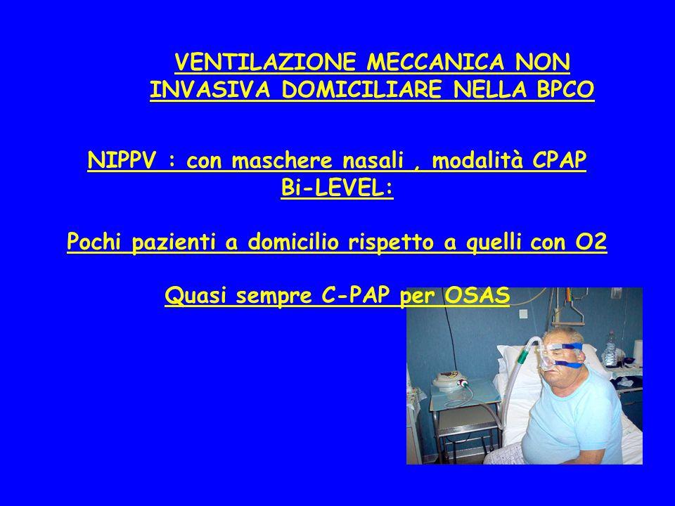 VENTILAZIONE MECCANICA NON INVASIVA DOMICILIARE NELLA BPCO NIPPV : con maschere nasali, modalità CPAP Bi-LEVEL: Pochi pazienti a domicilio rispetto a