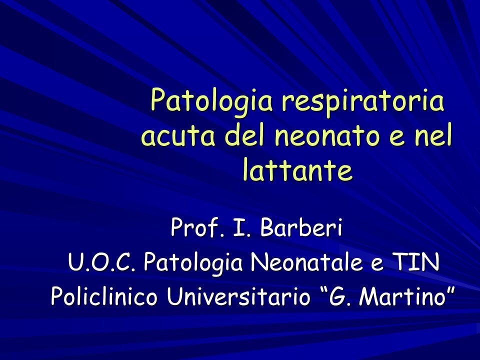 """Patologia respiratoria acuta del neonato e nel lattante Prof. I. Barberi Prof. I. Barberi U.O.C. Patologia Neonatale e TIN Policlinico Universitario """""""
