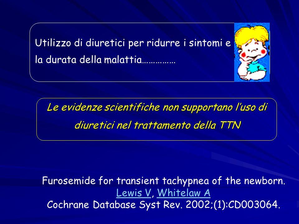 Utilizzo di diuretici per ridurre i sintomi e la durata della malattia…………… Le evidenze scientifiche non supportano l'uso di diuretici nel trattamento