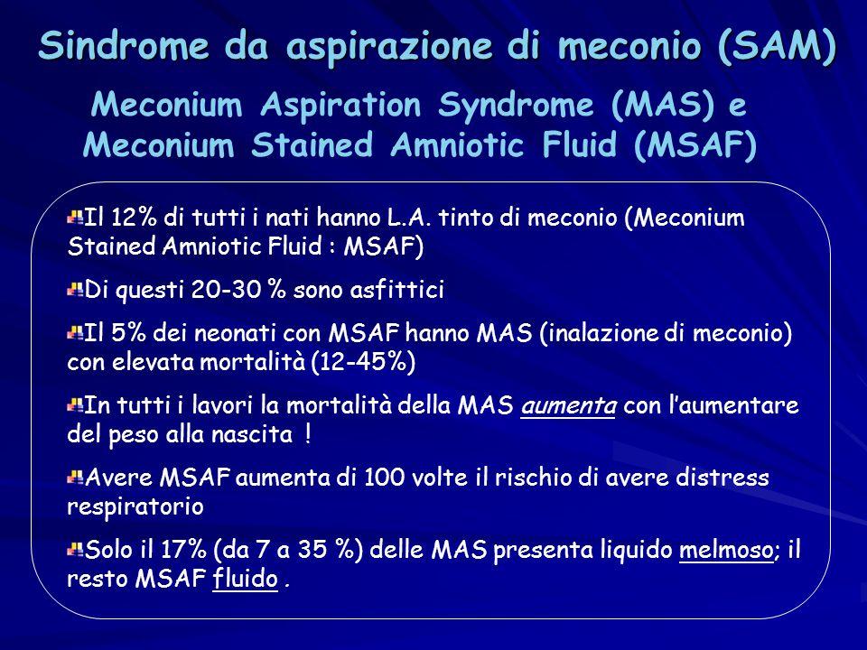 Il 12% di tutti i nati hanno L.A. tinto di meconio (Meconium Stained Amniotic Fluid : MSAF) Di questi 20-30 % sono asfittici Il 5% dei neonati con MSA