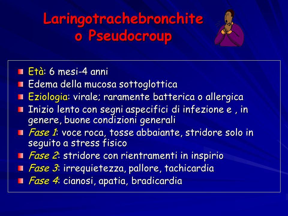Laringotrachebronchite o Pseudocroup Età: 6 mesi-4 anni Edema della mucosa sottoglottica Eziologia: virale; raramente batterica o allergica Inizio len