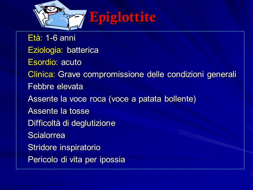 Epiglottite Età: 1-6 anni Eziologia: batterica Esordio: acuto Clinica: Grave compromissione delle condizioni generali Febbre elevata Assente la voce r