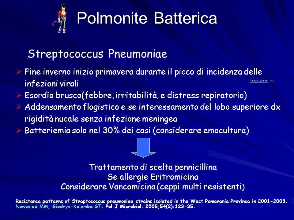 Polmonite Batterica  Fine inverno inizio primavera durante il picco di incidenza delle infezioni virali  Esordio brusco(febbre, irritabilità, e dist