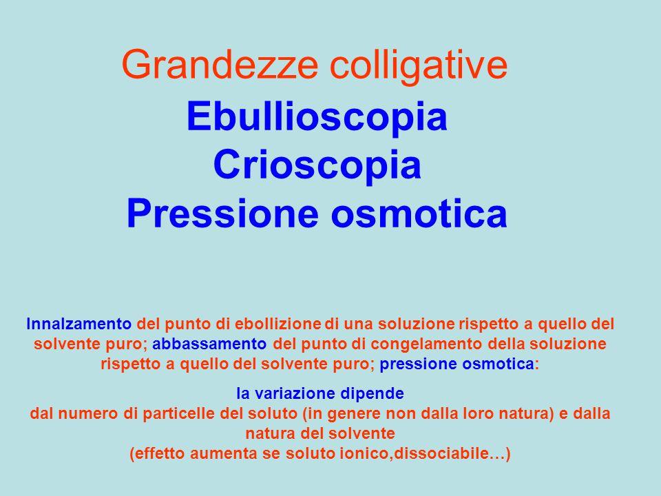 Grandezze colligative Ebullioscopia Crioscopia Pressione osmotica Innalzamento del punto di ebollizione di una soluzione rispetto a quello del solvent
