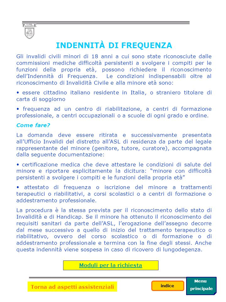 Menu principale indice INDENNITÀ DI ACCOMPAGNAMENTO Come fare.