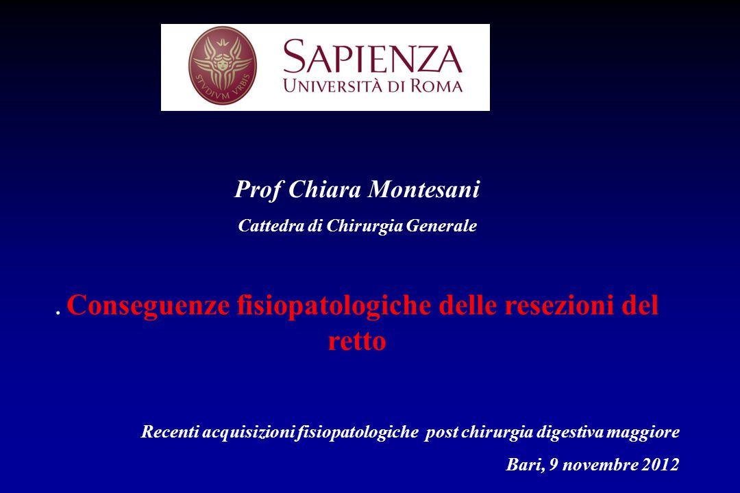 Prof Chiara Montesani Cattedra di Chirurgia Generale. Conseguenze fisiopatologiche delle resezioni del retto Recenti acquisizioni fisiopatologiche pos