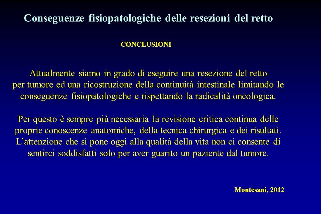 CONCLUSIONI Montesani, 2012 Conseguenze fisiopatologiche delle resezioni del retto Attualmente siamo in grado di eseguire una resezione del retto per