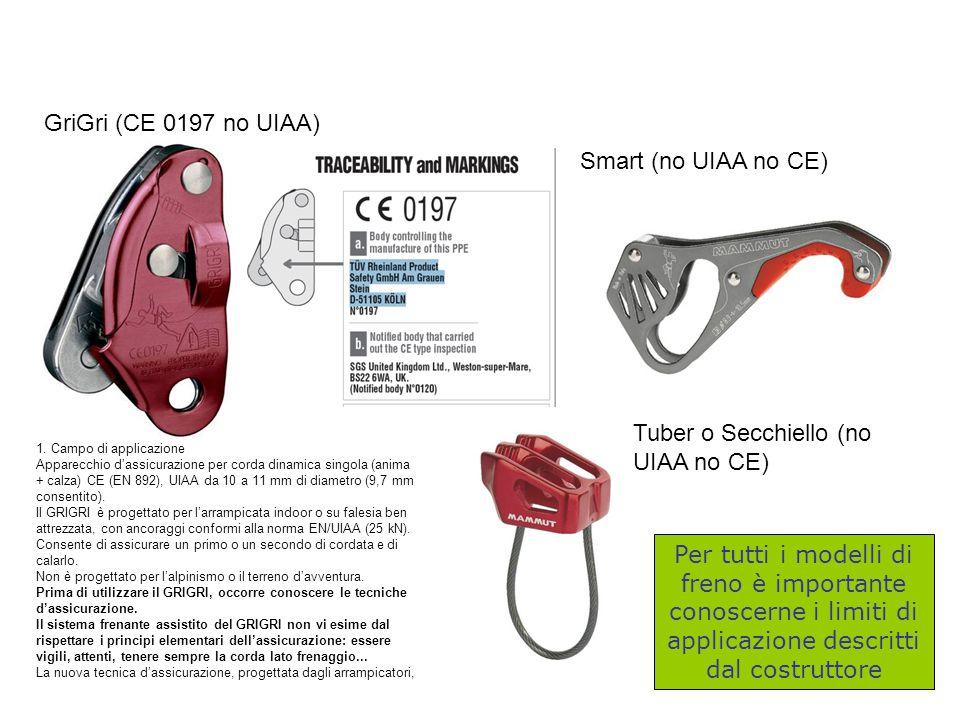 Smart (no UIAA no CE) GriGri (CE 0197 no UIAA) 1. Campo di applicazione Apparecchio d'assicurazione per corda dinamica singola (anima + calza) CE (EN