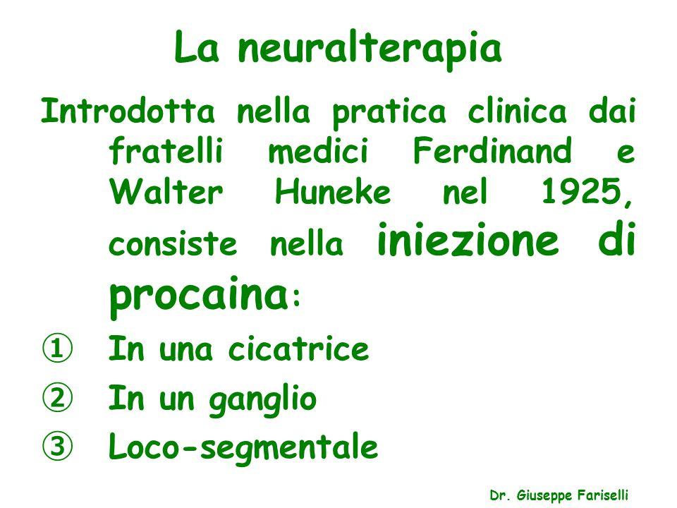 La neuralterapia Dr. Giuseppe Fariselli Introdotta nella pratica clinica dai fratelli medici Ferdinand e Walter Huneke nel 1925, consiste nella iniezi
