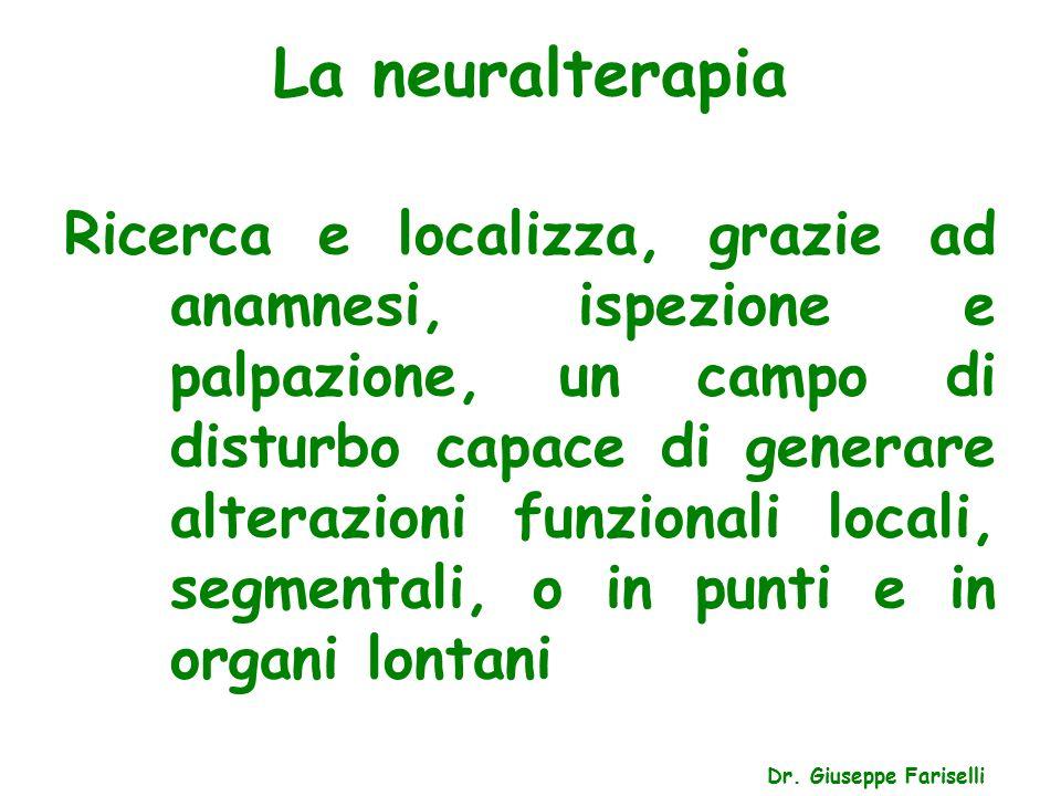 La neuralterapia Dr. Giuseppe Fariselli Ricerca e localizza, grazie ad anamnesi, ispezione e palpazione, un campo di disturbo capace di generare alter