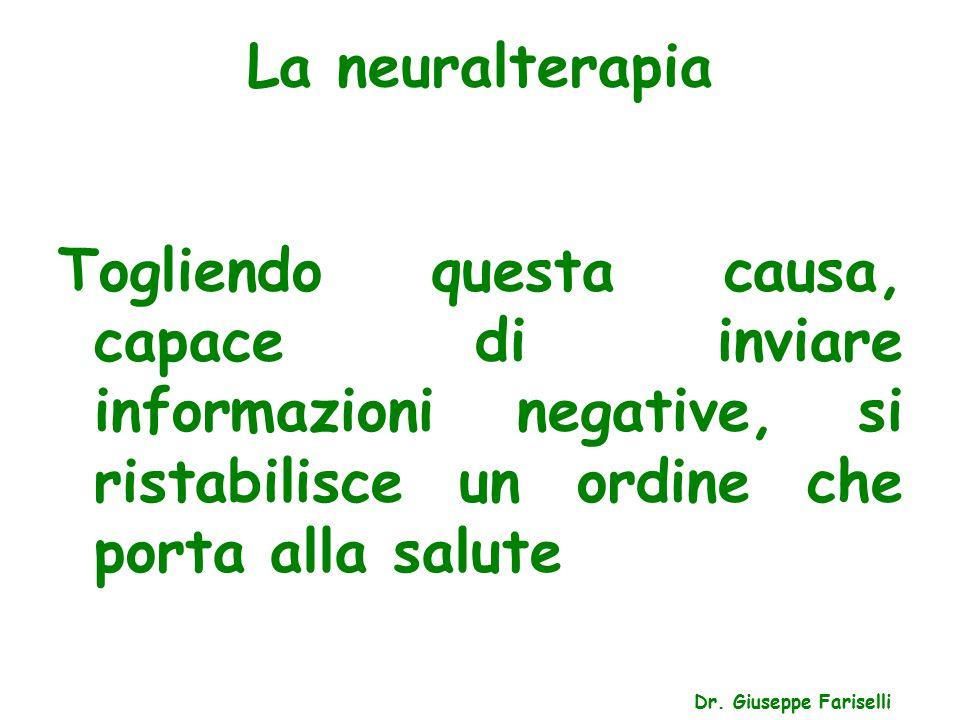 La neuralterapia Dr. Giuseppe Fariselli Togliendo questa causa, capace di inviare informazioni negative, si ristabilisce un ordine che porta alla salu