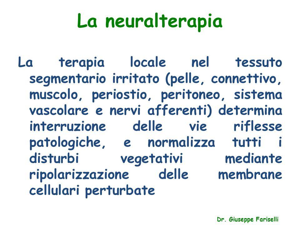 La neuralterapia Dr. Giuseppe Fariselli La terapia locale nel tessuto segmentario irritato (pelle, connettivo, muscolo, periostio, peritoneo, sistema