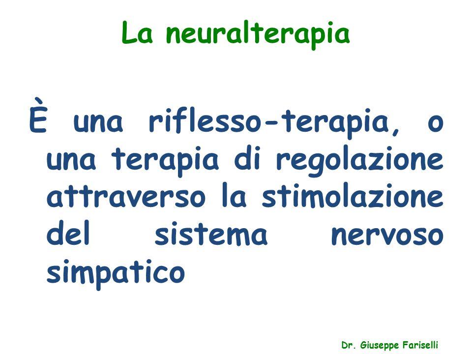 La neuralterapia Dr. Giuseppe Fariselli È una riflesso-terapia, o una terapia di regolazione attraverso la stimolazione del sistema nervoso simpatico