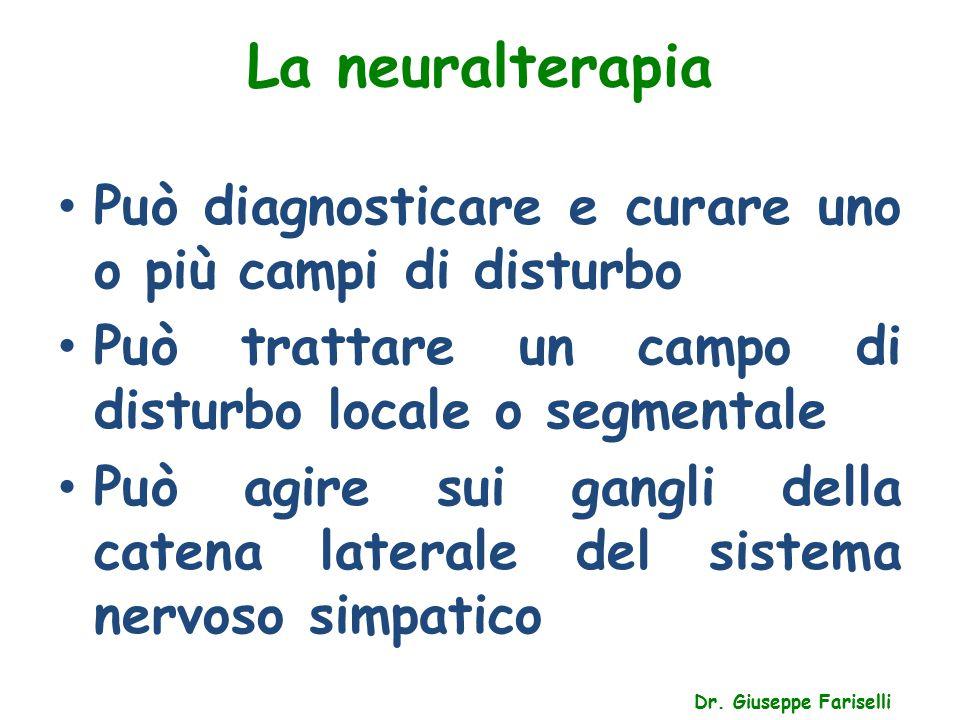 La neuralterapia Dr. Giuseppe Fariselli Può diagnosticare e curare uno o più campi di disturbo Può trattare un campo di disturbo locale o segmentale P