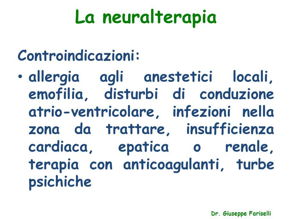 La neuralterapia Dr. Giuseppe Fariselli Controindicazioni: allergia agli anestetici locali, emofilia, disturbi di conduzione atrio-ventricolare, infez