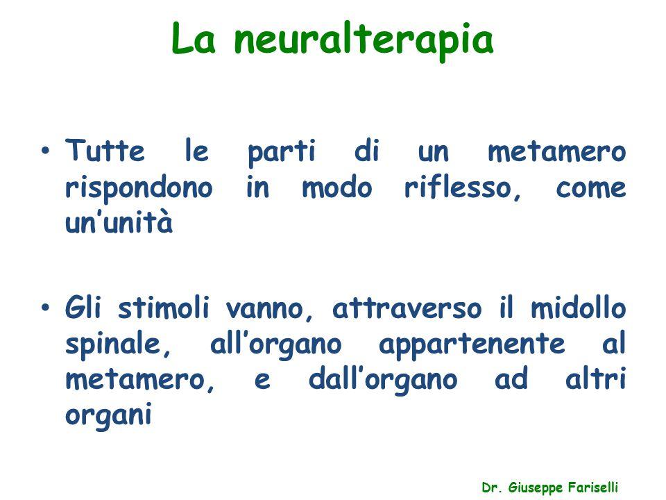 La neuralterapia Dr. Giuseppe Fariselli Tutte le parti di un metamero rispondono in modo riflesso, come un'unità Gli stimoli vanno, attraverso il mido