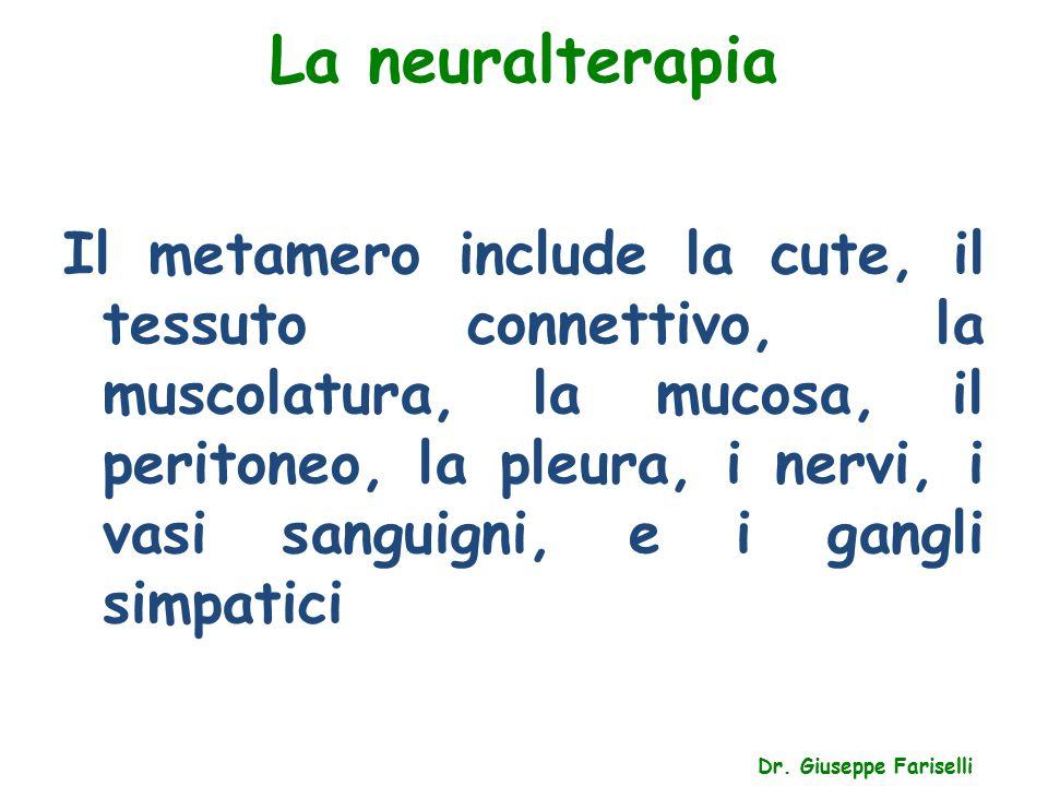 La neuralterapia Dr. Giuseppe Fariselli Il metamero include la cute, il tessuto connettivo, la muscolatura, la mucosa, il peritoneo, la pleura, i nerv