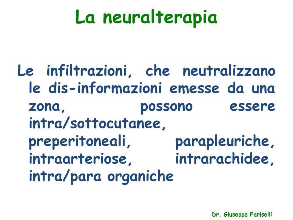 La neuralterapia Dr. Giuseppe Fariselli Le infiltrazioni, che neutralizzano le dis-informazioni emesse da una zona, possono essere intra/sottocutanee,
