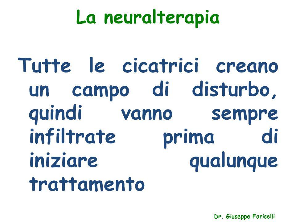 La neuralterapia Dr. Giuseppe Fariselli Tutte le cicatrici creano un campo di disturbo, quindi vanno sempre infiltrate prima di iniziare qualunque tra