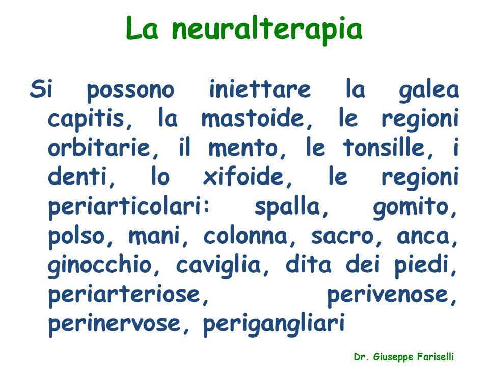 La neuralterapia Dr. Giuseppe Fariselli Si possono iniettare la galea capitis, la mastoide, le regioni orbitarie, il mento, le tonsille, i denti, lo x