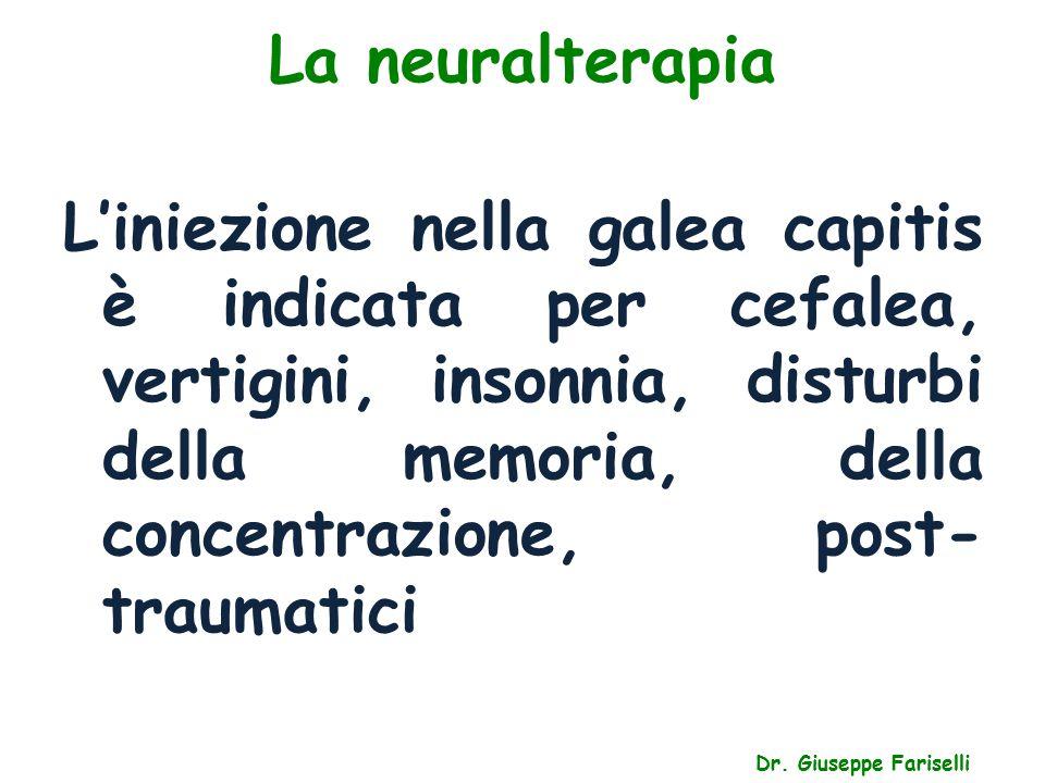 La neuralterapia Dr. Giuseppe Fariselli L'iniezione nella galea capitis è indicata per cefalea, vertigini, insonnia, disturbi della memoria, della con