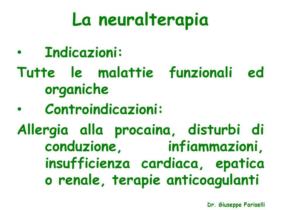La neuralterapia Dr. Giuseppe Fariselli Indicazioni: Tutte le malattie funzionali ed organiche Controindicazioni: Allergia alla procaina, disturbi di
