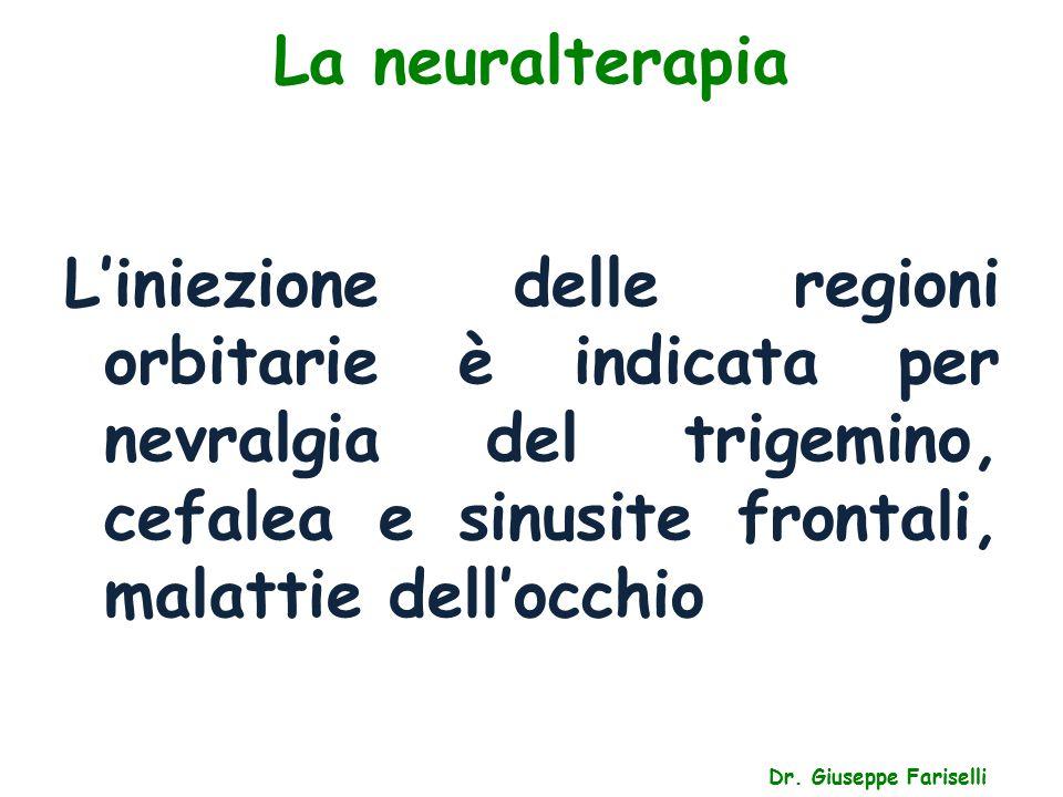 La neuralterapia Dr. Giuseppe Fariselli L'iniezione delle regioni orbitarie è indicata per nevralgia del trigemino, cefalea e sinusite frontali, malat