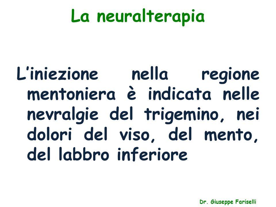 La neuralterapia Dr. Giuseppe Fariselli L'iniezione nella regione mentoniera è indicata nelle nevralgie del trigemino, nei dolori del viso, del mento,