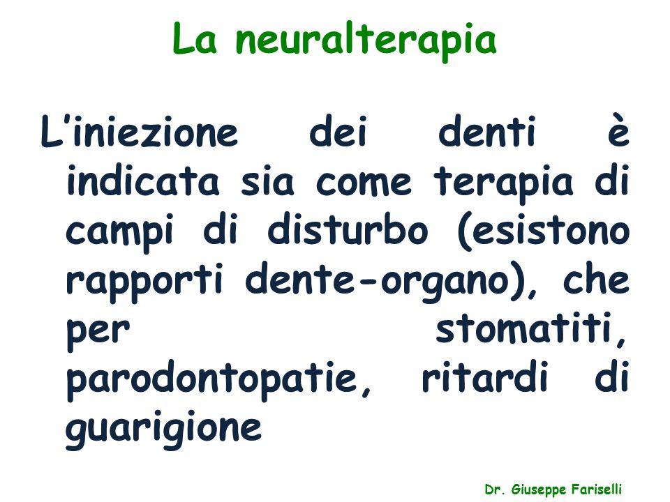La neuralterapia Dr. Giuseppe Fariselli L'iniezione dei denti è indicata sia come terapia di campi di disturbo (esistono rapporti dente-organo), che p