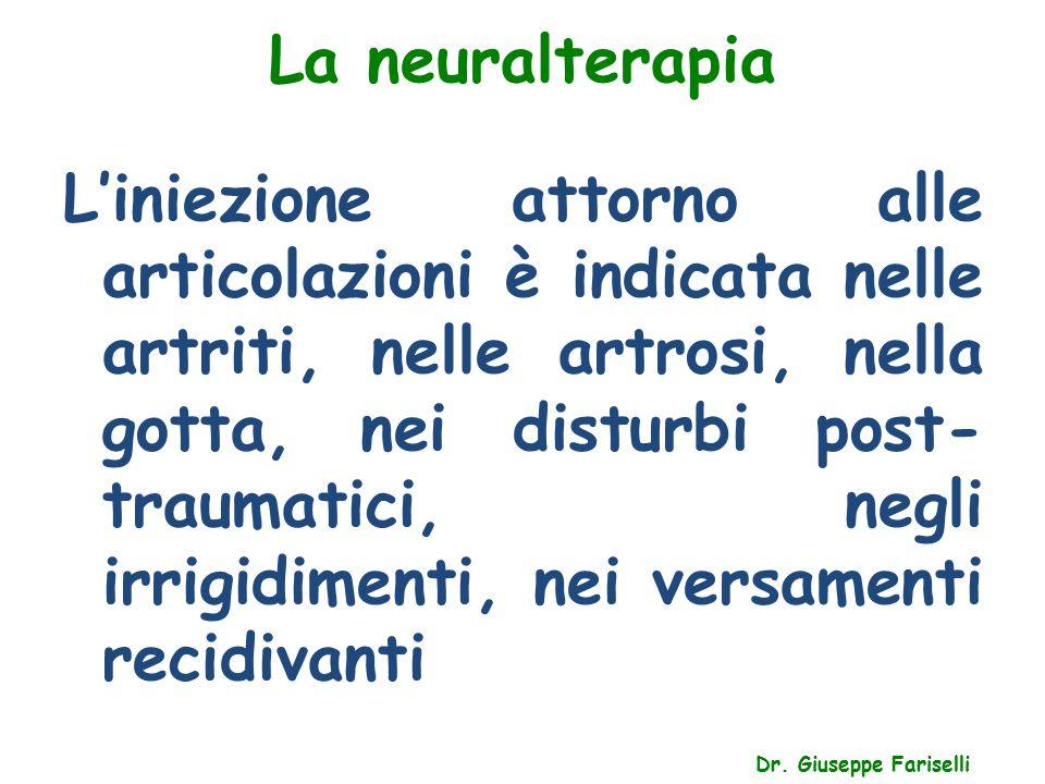 La neuralterapia Dr. Giuseppe Fariselli L'iniezione attorno alle articolazioni è indicata nelle artriti, nelle artrosi, nella gotta, nei disturbi post