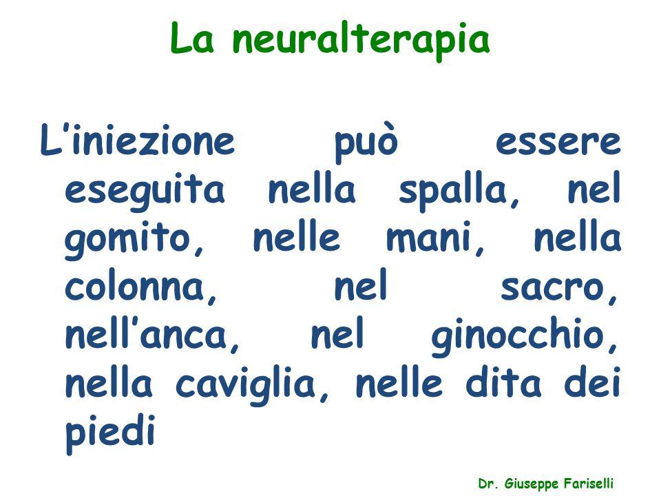 La neuralterapia Dr. Giuseppe Fariselli L'iniezione può essere eseguita nella spalla, nel gomito, nelle mani, nella colonna, nel sacro, nell'anca, nel