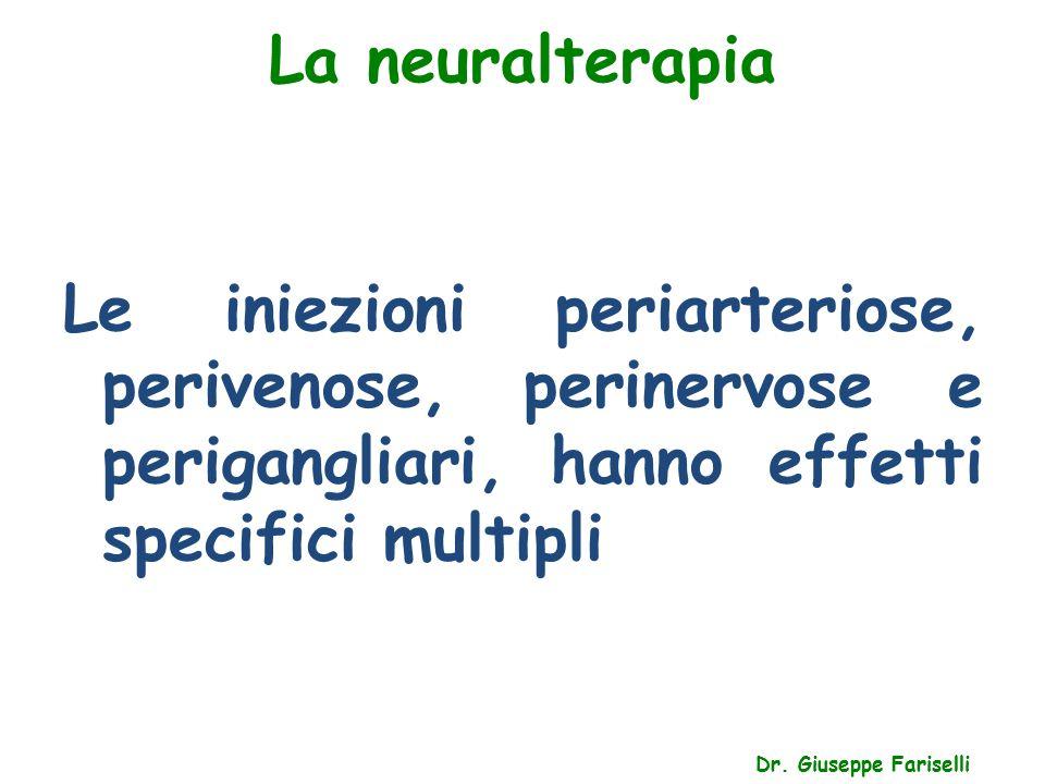 La neuralterapia Dr. Giuseppe Fariselli Le iniezioni periarteriose, perivenose, perinervose e perigangliari, hanno effetti specifici multipli