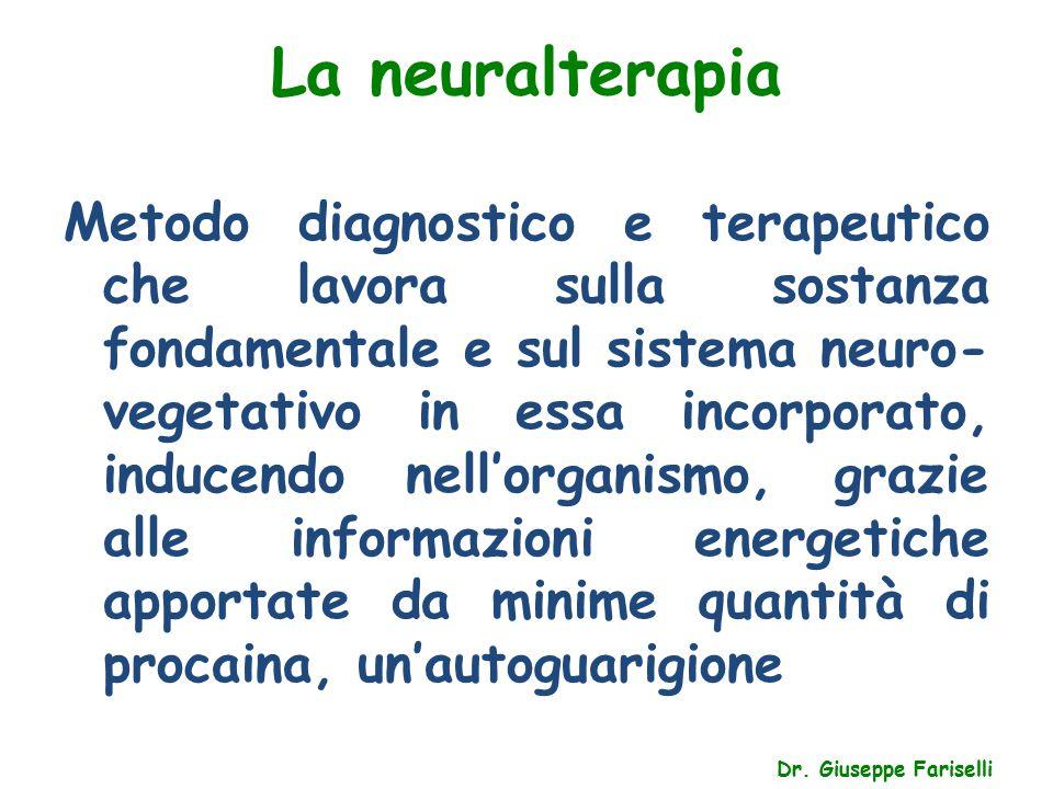 La neuralterapia Dr. Giuseppe Fariselli Metodo diagnostico e terapeutico che lavora sulla sostanza fondamentale e sul sistema neuro- vegetativo in ess