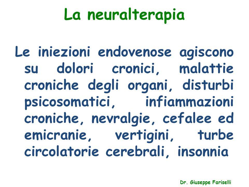 La neuralterapia Dr. Giuseppe Fariselli Le iniezioni endovenose agiscono su dolori cronici, malattie croniche degli organi, disturbi psicosomatici, in