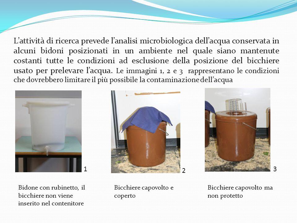 Bidone con rubinetto, il bicchiere non viene inserito nel contenitore 2 3 L'attività di ricerca prevede l'analisi microbiologica dell'acqua conservata