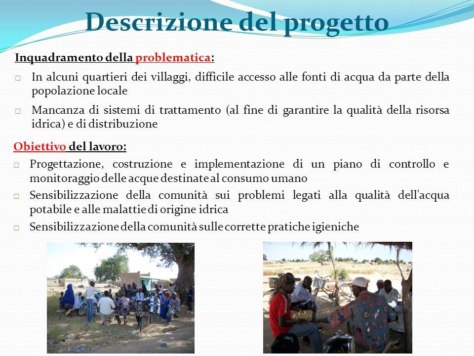 Inquadramento della problematica:  In alcuni quartieri dei villaggi, difficile accesso alle fonti di acqua da parte della popolazione locale  Mancan